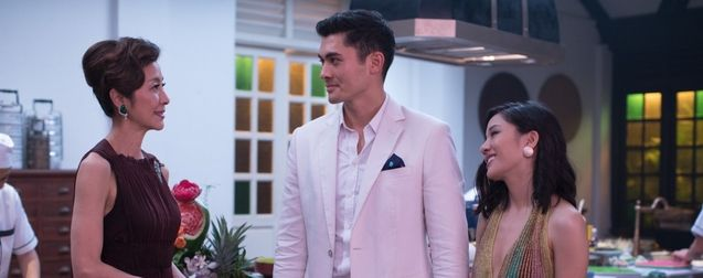 photo, Henry Golding, Michelle Yeoh, Constance Wu
