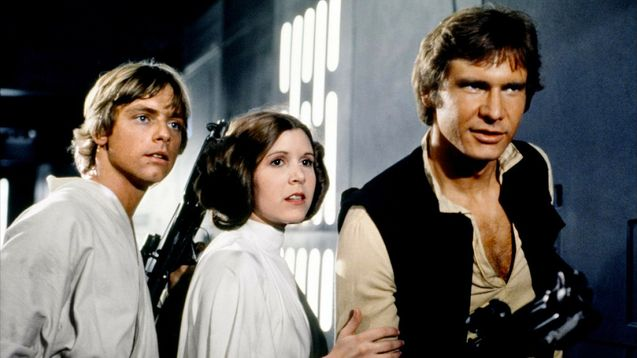 Photo Mark Hamill, Harrison Ford, Carrie Fisher