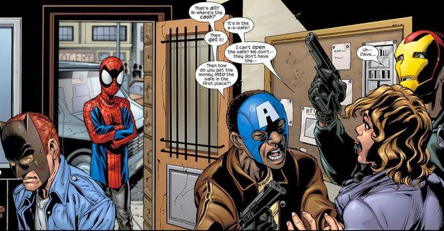Comics Spider-Man et des faux Avengers