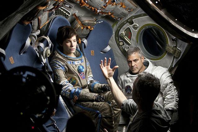Photo Sandra Bullock, George Clooney, Alfonso Cuarón