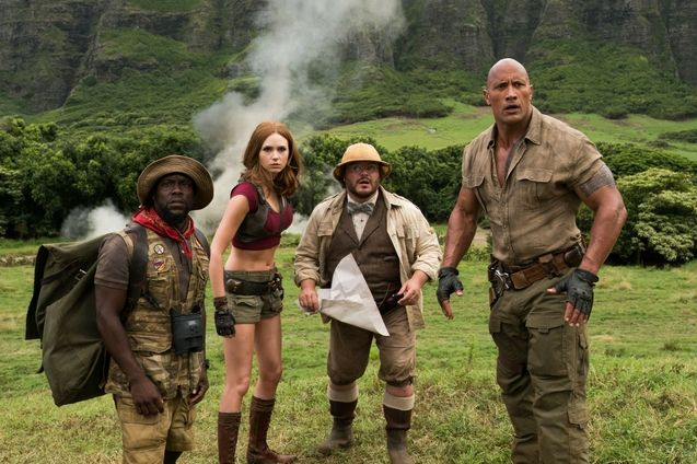 Photo Dwayne Johnson, Kevin Hart, Karen Gillan, Jack Black
