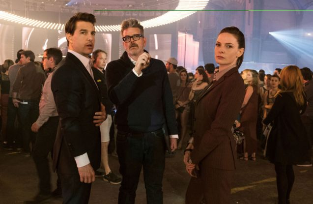 photo, Christopher McQuarrie, Tom Cruise, Rebecca Ferguson
