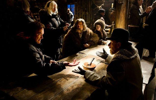 Photo Robert Richardson, Quentin Tarantino, Tim Roth, Kurt Russell, Jennifer Jason Leigh