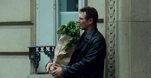photo, Liam Neeson, des poireaux